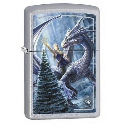 Zippo 2433 Anne Stokes-Christmas Dragon Street Chrome Finish Lighter