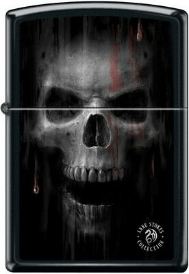Zippo 2921 Anne Stokes Collection Skull With Blood Black Matte RARE Lighter