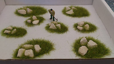 New OO/HO 8 Rubble Grass Mounds Railway/Diorama's/Scenery!!!