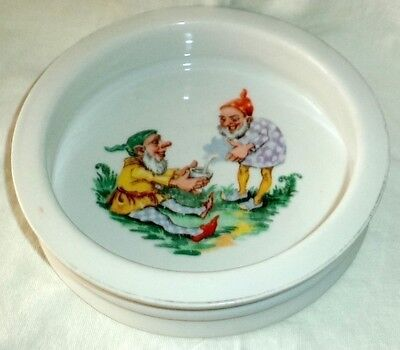 """Antique Child Baby Feeding Bowl Gnomes Elves Heavy 6 3/4"""" x 1 1/2"""" Unmarked"""