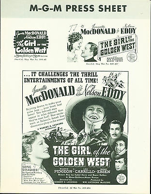The Girl of the Golden West (1938) Jeanette MacDonald, Nelson Eddy pressbook