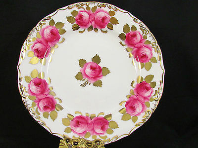 Royal Chelsea Hp Pink Roses Gold Gilt Foliage Decorative Plate