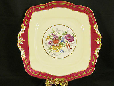 Paragon Rich Red & Cream Floral Spray Fancy Gold Cake Plate