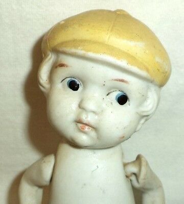 """Bisque Boy Doll Yellow Cap Red Shoes Moulded 6"""" Tall String Joints Japan S463"""