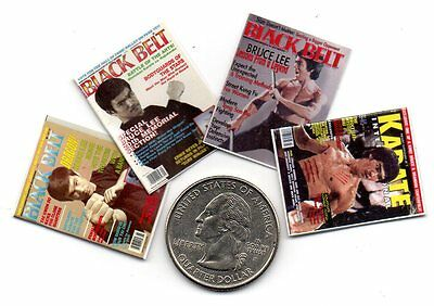 4 Mini KARATE  Kung Fu  Martial Arts MAGAZINES Dollhouse  1:12 scale OPENING