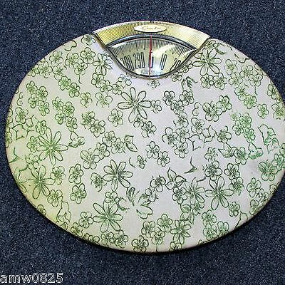 Vintage Bathroom Scale 1964 Brearley Counselor Mod Green Flowers Daisies Retro