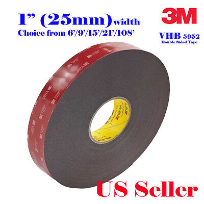 """3M 1"""" x 6/9/15/21/36  VHB Double Sided Foam Adhesive Tape 5952 SonyAction Cam"""