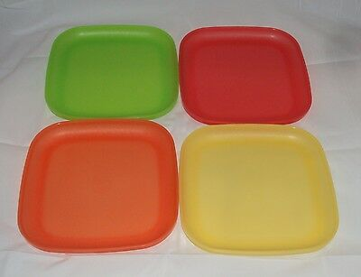 Tupperware Set 4 Square 8 In Plates Picnic Sandwich Lunch Plate Set Colors Lot A