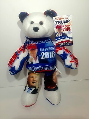 """DONALD TRUMP """" Limited Edition """" President Elect  Collectible bean Teddy Bear"""