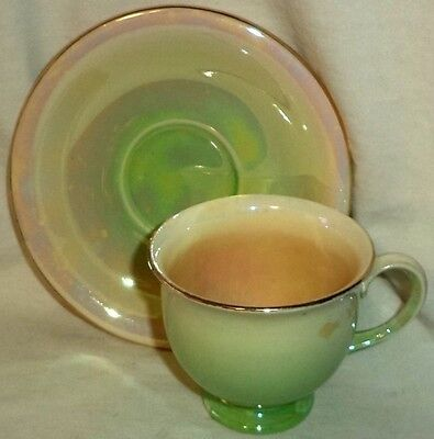 Royal Winton Footed Cup & Saucer Iridescent Green Lustre