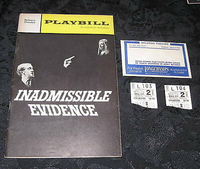 Playbill INADMISSIBLE EVIDENCE with tickets,Premiere Performance,Valerie French,