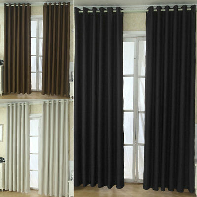 2 Panel Solid Lined Thermal Insulated Blackout Grommet Window Curtain Drapes