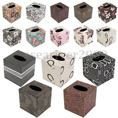 Square Leather Case Home Room Car Office Tissue Box Cover Paper Napkin Holder