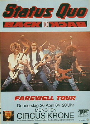 Status Quo Concert Tour Poster 1984 Back To Back
