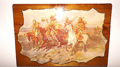 Hand Crafted Folk Art Shellacked Native Indians on Horseback On Pine Slab