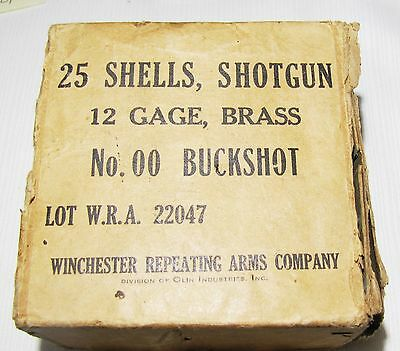 Vintage--Winchester--Empty  Box--25 Shells 12 Gauge Brass No. 00 Buckshot