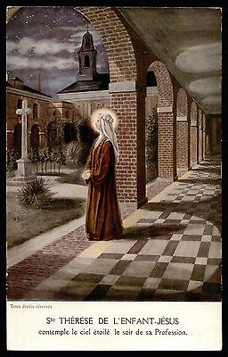 ST THERESE LISIEUX THE EVENING OF TAKING VOWS Old HOLY CARD POSTCARD