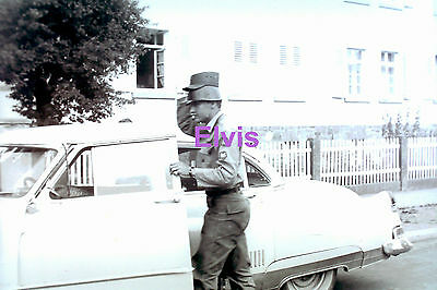 Elvis Presley Soldier With 2 Hats Getting In Car Germany 1958 Photo Candid