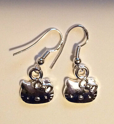"New Sterling Silver Hello Kitty Earrings Free Gift Bag Marked ""sanrio"" Very Cute"