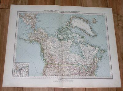 1927 Rare Vintage Italian Map Of Canada / Alaska / Ottawa City Inset Map