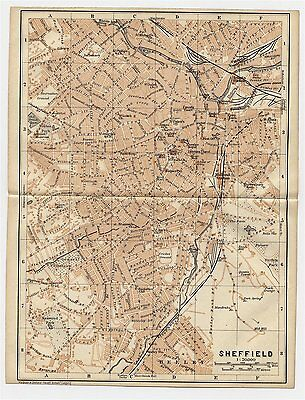 1906 Antique City Map Of Sheffield / South Yorkshire / England