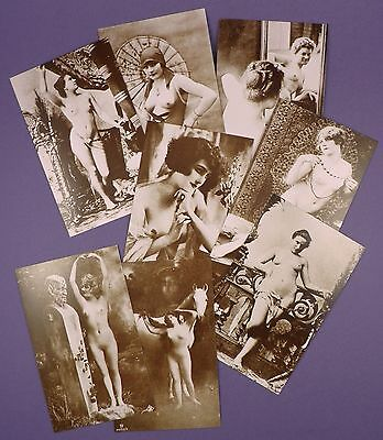 Set of Eight Different Nude French Sepia Post Cards - Printed c1950s