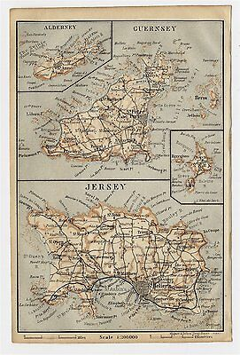 1906 Antique Map Of Channel Islands / Guernsey / Jersey Alderney English Channel