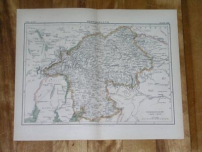 1885 Map Of County Of Westmorland Appleby / England