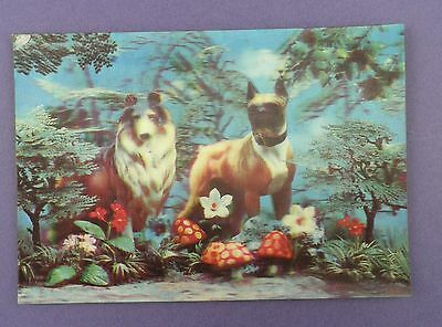 Vintage Lenticular Postcard - Dogs in Weird Background- Novelty & Research Co.
