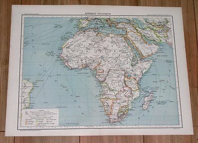 1892 Political Map Of Africa German Colonies Tanzania Boer Republics Transvaal
