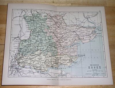1882 Map Of County Of Essex / Colchester Chelmsford / England
