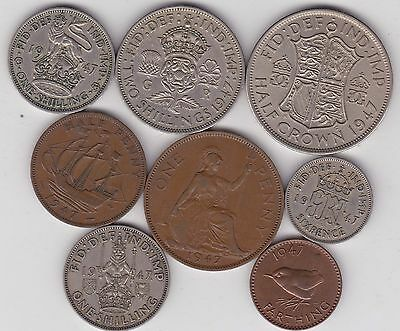 1947 George Vi Set Of 8 Coins In Very Fine Or Better Condition