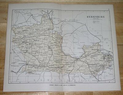 1882 Map Of Berkshire County / Reading Windsor / England