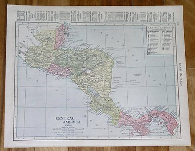 1912 Map Of Central America Panama Costa Rica / With Description On Back