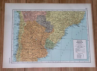 1943 Vintage Wwii Map Chile Argentina Buenos Aires Paraguay Uruguay Brazil