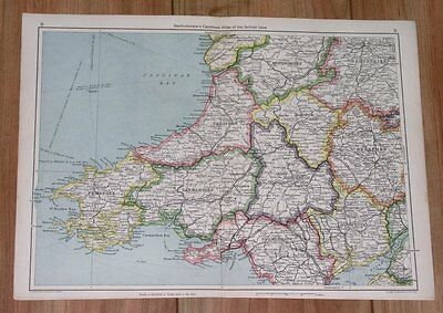 1943 Original Wwii Vintage Map Of Southern Wales Pembroke Cardigan Carmarthen