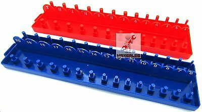 New 3/8 DRIVE SAE & METRIC SOCKETS TRAYS HOLDERS ORGANIZER DEEP SHALLOW SOCKETS
