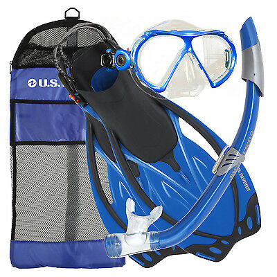 U.S. US DIVERS YUCATAN 4-PIECE ADULT SNORKEL SET BLUE inc MASK/SNORKEL/FINS/BAG
