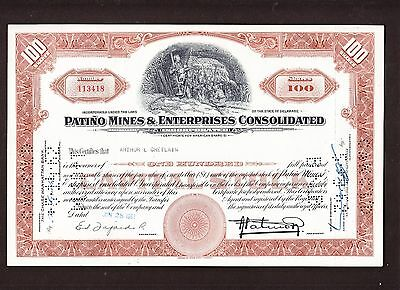 Patiño Mines & Enterprises Consolidated,1961 Share Certificate