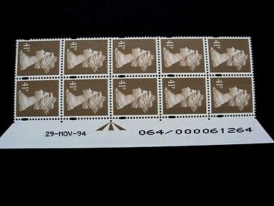 Enschede.41p.Warrant/Date block of 10.U389b.Right.Superb MNH.Unfolded.