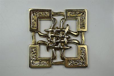 Beautiful Arts & Crafts Celtic brass ormolu mount mirror furniture emblem SMB6