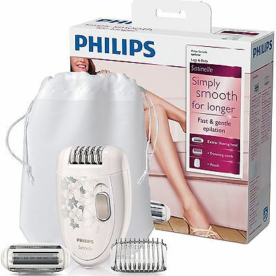 New Philips HP6423/02 Satinelle Legs And Body Womens Epilator with Shaving Head