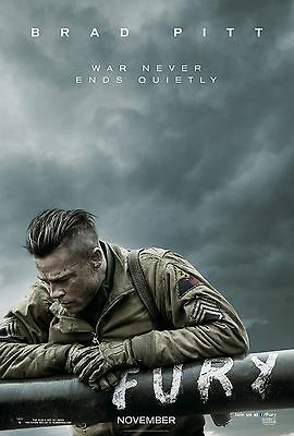 FURY LAMINATED MINI MOVIE POSTER A4 BRAD PITT style 2