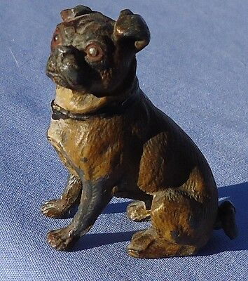Antique Pug Cold Painted Metal Male Dog Heyde Germany