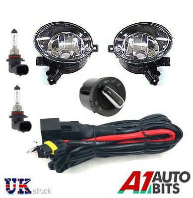 Vw Golf Mk6 Touran Jetta Tiguan Caddy Fog Lights Set & Headlight Switch + Wiring