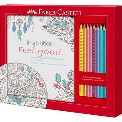 201434 Faber-Castell Ausmalset Feel Good mit 8 Colour Grip Stiften Pen Pencil