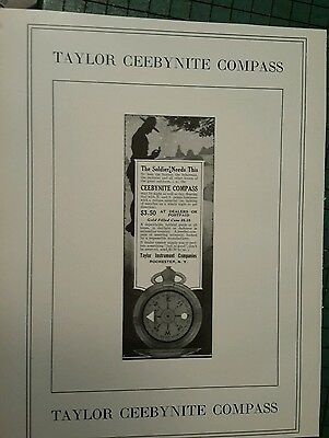 1917 Taylor Ceebynite Military Compass ad   World War One Soldier advertising