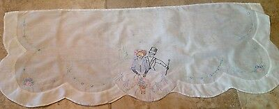 Vintage Dresser Scarf, Cotton, Man And Woman In Fancy Dress, Flowers, Embroidery