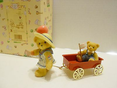 """Cherished Teddies """"GIRL PULLING Red  WAGON"""" Balloon Flag  #CT993 Members Only"""