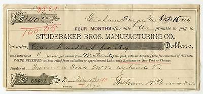 Antique 1889 STUDEBAKER BROTHERS Manufacturing Company Promissory Note